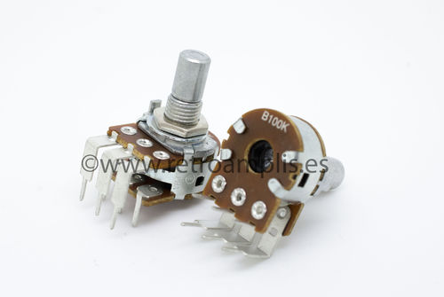 100K Linear Stereo Right Angle PCB 16mm Potentiometer Pot