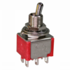 Red DPDT ON-ON toggle switch, short lever